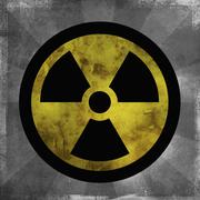 Nuclear sign with dark sun rays emanating from the symbol Stock Illustration