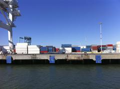 Cargo containers at Port of Oakland, California, USA Stock Photos