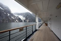 View of Tracy Arm fjord from the walkway of a passenger ship, Alaska Stock Photos
