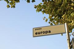 Sign for Europa piazza Stock Photos