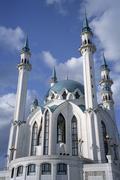 Facade of Qolsharif Mosque against cloudy sky in Kazan Kremlin, Russia Stock Photos