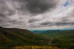 Dark spring storm clouds over the appalachian mountains, from skyline drive i Stock Photos