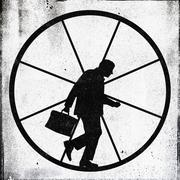 A tired looking businessman jogging on an exercise wheel Stock Illustration