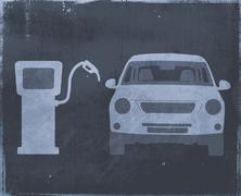A stencil of a car next to a fuel pump Stock Illustration