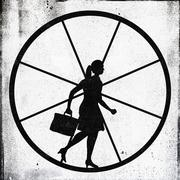 A determined looking businesswoman jogging on an exercise wheel Stock Illustration