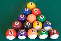 Billiard-table with fifteen balls Stock Photos