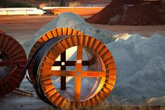 Large spools of cable at a mine Stock Photos