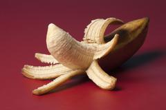 A peeled banana suggestive of an erect penis Stock Photos