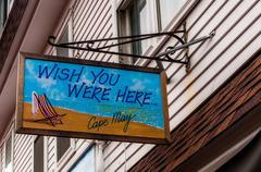 """Värikäs """"Wish You Were Here"""" postikortti merkki Cape May, New Jersey. Kuvituskuvat"""