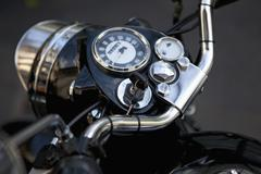 Motorcycle dashboard with keys in the ignition Stock Photos