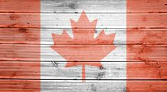 wood texture background with colors of the flag of canada - stock photo