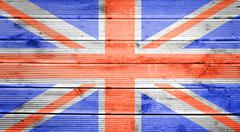 wood texture background with colors of the flag of great britain - stock photo