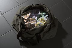 A bag full of large billed Euro banknotes Stock Photos