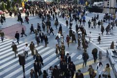 Crowd suojatiet Shibuya, Japani Kuvituskuvat
