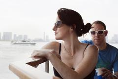 Man and woman on river boat to Asakusa in Tokyo Stock Photos