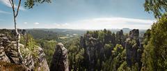 Stock Photo of The Bastei bridge and Elbe Sandstone Mountains, Bastei, Saxony, Germany