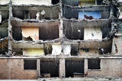 Council flats midway through demolition Stock Photos