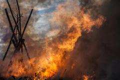 Blazing fire in Schleswig-Holstein, Germany Stock Photos