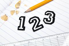 Varsity font sticker numbers 1, 2, 3 atop a lined paper notebook with ruler and Stock Photos