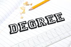Varsity font stickers spelling out Degree atop a lined paper notebook with ruler - stock photo