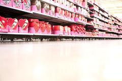 A supermarket store aisle filled with various Valentine's Day's boxes of Stock Photos