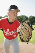 Portrait of a baseball pitcher Stock Photos