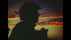 WW2 - Soldiers In Sunset On Carrier 01 - stock footage