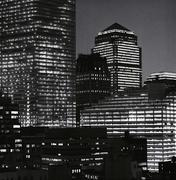 View of city buildings at night, Manhattan, New York City Piirros
