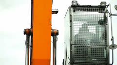 Cabin. excavators, unloading coal from a cargo train. Stock Footage