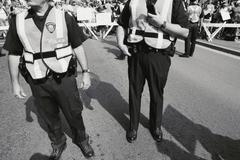 Poliisi ja mielenosoittajat mielenosoituksessa, Vancouver, Kanada Kuvituskuvat