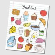 breakfast doodles - lined paper - stock illustration