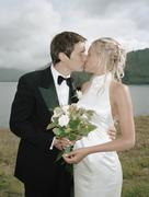 A bride and groom kissing Stock Photos