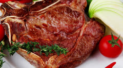 Stock Video Footage of meat food : grilled beef spare rib on white dish