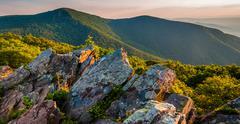 Evening view toward hawksbill summit from betty's rock, along the appalachian Stock Photos