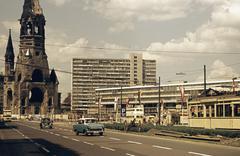 Kaiser Wilhelm Memorial Church (Gedachtniskirche) on city street, Berlin, Stock Photos
