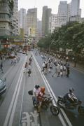 Kiireisen kaupungin katu, Hong Kong, Central District, Kiina Kuvituskuvat