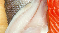 Sole  salmon  and red tuna fish Stock Footage