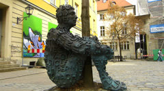 Metal sculpture in Ansbach old town Germany Bavaria Franconia Stock Footage