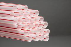 Bunch of drinking straws Stock Photos