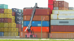 T/L Nuremberg Lorry transporting container out of dock - stock footage