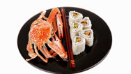 Stock Video Footage of sushi rolls with crab