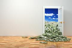 Concept of wealth. opening door and heap dollar. Stock Illustration