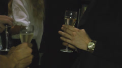 Close-up of wine glass in a hand Stock Footage
