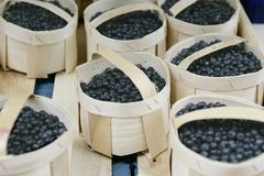 Small baskets of blueberries Stock Photos