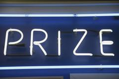 Prize' neon sign Stock Photos