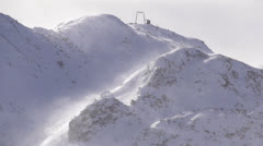 SLOW MOTION: Closed ski resort due to strong wind Stock Footage