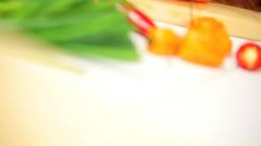 Fresh Organic Ingredients  Healthy Vegetarian Meal - stock footage