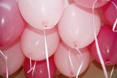 Pink helium balloons Stock Photos