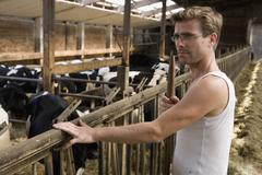 Farm worker in barn with cows - stock photo
