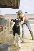 Woman standing with calf in farmyard - stock photo